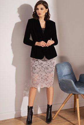 Комплект юбочный Prestige 3488 черный с бежевым