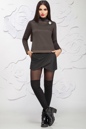 Купить Комплект с шортами Ivelta plus 2859 темно-коричневый с черным, С шортами, 2859, темно-коричневый с черным, 95% п/э, 5% спандекс, Мультисезон