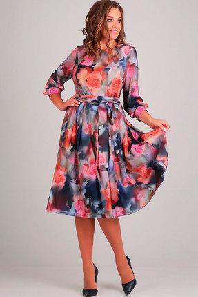 Купить Платье Асолия 2369 синий, Платья, 2369, синий, ПЭ - 95%, Спандекс - 5% Стрейчевый непрозрачный шифон, Мультисезон