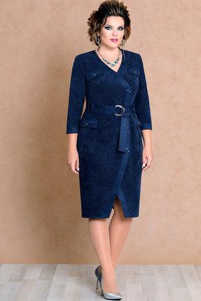 Купить Платье Mira Fashion 4464 тёмно-синий, Повседневные платья, 4464, тёмно-синий, ПЭ - 44% Х/б - 54% Спандекс - 2%, Мультисезон