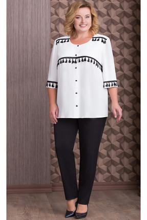 Купить Комплект брючный Aira Style 635 молочные тона с черным, Брючные, 635, молочные тона с черным, Блуза - креп-шифон Брюки - костюмно-плательная ткань, Мультисезон