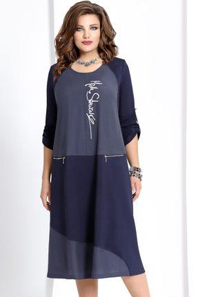 Купить Платье Vittoria Queen 6593 синий, Платья, 6593, синий, Вискоза 60%+Полиамид 35%+Спандекс 5%, Мультисезон