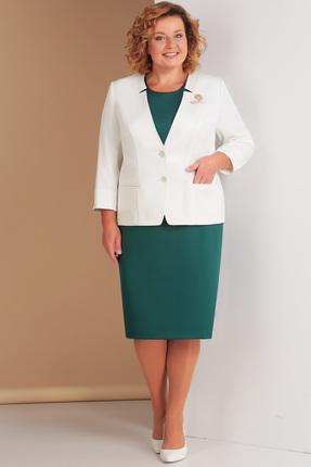 Купить Комплект плательный Ксения Стиль 1556 белый с зеленым, Плательные, 1556, белый с зеленым, п/э 71%, вискоза 23%, спандекс 6% (костюмно-плательная), Мультисезон