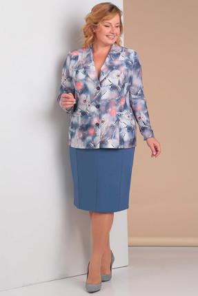 Купить Комплект юбочный Новелла Шарм 3011 синие тона, Юбочные, 3011, синие тона, костюмно-плательная барби (п/э 68%, вискоза 28%, спандекс 4%), Мультисезон
