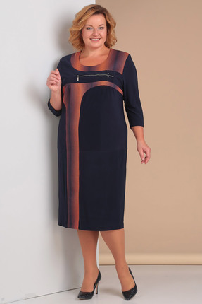 Купить Платье Новелла Шарм 3072 темно-синий, Платья, 3072, темно-синий, Масло + трикотажная подкладка (пэ 100%), Мультисезон