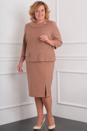Купить Комплект юбочный Milana 944 какао, Юбочные, 944, какао, Материал костюма: костюмно-плательная со стрейчем. Состав: ПЭ-44%, спандекс-4%, вискоза - 53%., Мультисезон