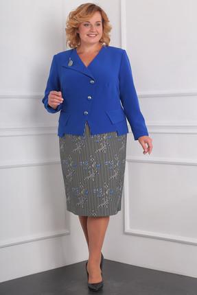 Купить Комплект юбочный Milana 958 василек, Юбочные, 958, василек, Материал костюма: жакет - костюмно-плательная со стрейчем. Юбка - плотный жаккард со стрейчем. Состав: жакет: ПЭ-50%, вискоза-47%, спандекс-3% юбка: ПЭ-62, спандекс-3%, вискоза - 35%., Мультисезон