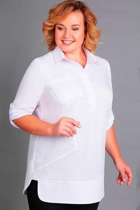 Блузка Асолия 4027 белый, Блузки, 4027, белый, Хлопок - 63%, ПАН - 33%, Спандекс - 4%, Мультисезон  - купить со скидкой