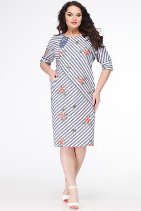 Купить Платье Erika Style 638 синие тона, Платья, 638, синие тона, вискоза 72%, ПЭ 25%, спандекс 3%, Лето