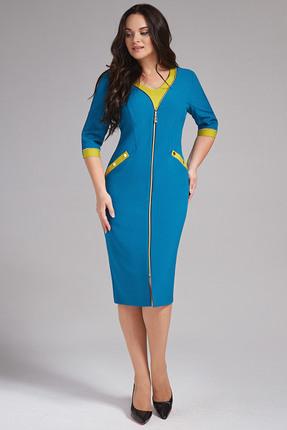 Купить Платье Erika Style 668 бирюзовые тона, Платья, 668, бирюзовые тона, вискоза 72%, ПЭ 25%, спандекс 3%, Мультисезон
