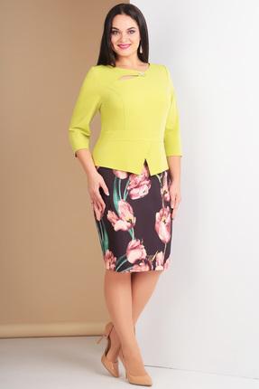 Купить Комплект юбочный Ксения Стиль 1532а желтый тюльпаны , Юбочные, 1532а, желтый тюльпаны , п/э 76%, вискоза 20%, спандекс 4% (плательная ткань), Мультисезон