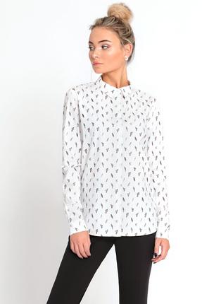 Женская белая классическая рубашка блузка с принтом