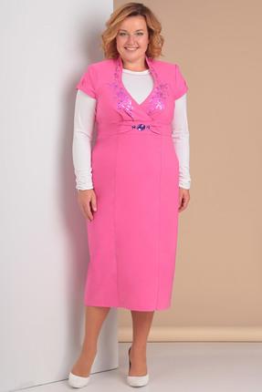 Купить Комплект плательный Новелла Шарм 3077 розовый, Плательные, 3077, розовый, Сарафан - плательная ткань, гольф - вискоза, Мультисезон