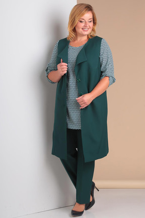 Купить Комплект брючный Новелла Шарм 2999-1 зеленый, Брючные, 2999-1, зеленый, Жилет, брюки - костюмно-плательная (п/э 68%, вискоза 28%, спандекс 4%) Блуза: поливискоза, Мультисезон