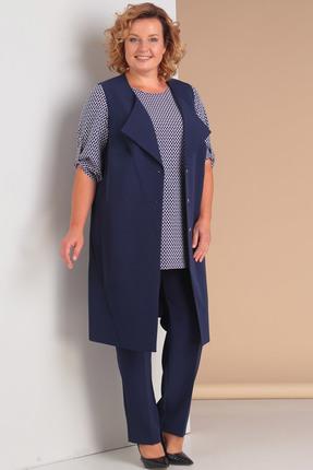 Купить Комплект брючный Новелла Шарм 2999с-2 синий, Брючные, 2999с-2, синий, Жилет, брюки - костюмно-плательная (п/э 68%, вискоза 28%, спандекс 4%) Блуза: полиэстер 100%, Мультисезон