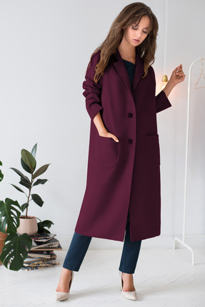 Пальто ЮРС 19-872-2 темный фиолет