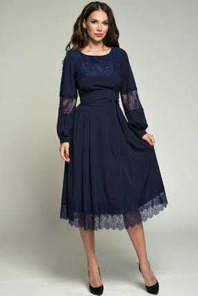 Купить Платье Teffi style 1358 синий, Платья, 1358, синий, 95% пэ, 5% эластан, Мультисезон