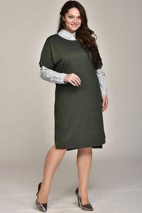 Купить Комплект плательный Lady Style Classic 1531 темно-зеленый, Плательные, 1531, темно-зеленый, Платье: ПЭ 62%+Вискоза 38% Блуза: Хлопок 100%, Мультисезон