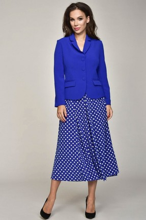 Купить Комплект юбочный Teffi style 1316/1 синий, Юбочные, 1316/1, синий, 96% ПЭ 4% спандекс, Мультисезон