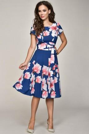 Купить Платье Teffi style 1332 синие тона, Платья, 1332, синие тона, Ткань платья шифон-стрейч. 95% пэ, 5% сп., Мультисезон