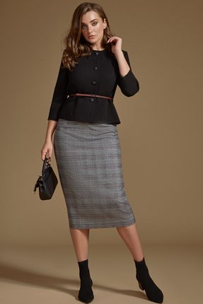 Комплект юбочный Prestige 3484 черный с серым