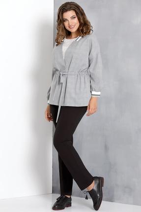 Купить Комплект брючный Olga Style с554 серый с черным, Брючные, с554, серый с черным, Жакет - пэ 90%, вискоза 10%; Брюки - пэ 64%, вискоза 31%, спандекс 5%; Блуза - пэ 96%, эластан 4%, Мультисезон