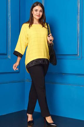 Купить Комплект брючный Anastasia 218 желтый, Брючные, 218, желтый, Блуза ПЭ-77%, Вискоза-15%, Спандекс-8%; Брюки ПЭ-100%, Мультисезон
