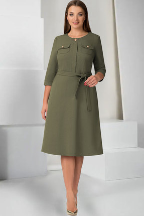 Купить Платье ТАиЕР 727 олива, Платья, 727, олива, Шерсть 20%, Вискоза 25%, Полиэстер 55%, Мультисезон