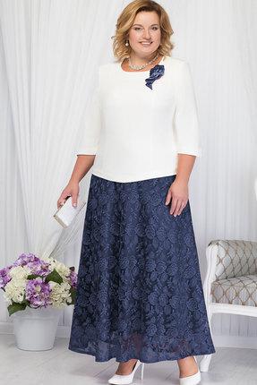 Купить Комплект юбочный Ninele 2171 синий+белый, Юбочные, 2171, синий+белый, Блуза - полиэстер 95%, спандекс 5%, подкладка - полиэфир 95%, спандекс 5% Юбка - кружево - ПЭ-100%, подкладка: атлас полиэстер 95%, Мультисезон