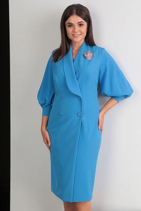 Купить Платье Мода-Юрс 2425 синий, Платья, 2425, синий, ПЭ 100% (плательная), рукава - гипюр, Мультисезон