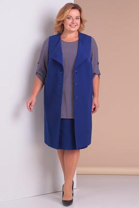 Купить Комплект юбочный Новелла Шарм 3078с синие тона, Юбочные, 3078с, синие тона, Жакет, юбка - костюмно-плательная (п/э 82%, вискоза 14%, спандекс 4%) Блуза - шифон, Мультисезон