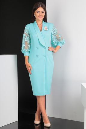 Купить Платье Мода-Юрс 2421 мята, Платья, 2421, мята, ПЭ 100% (плательная), рукава - гипюр, Мультисезон