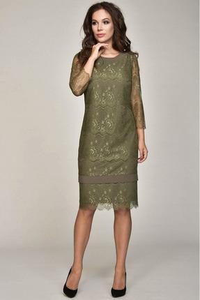 Купить Платье Teffi style 1356 олива, Платья, 1356, олива, 95%пэ, 5% эластан, Мультисезон