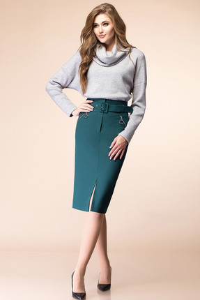 Купить Комплект юбочный Romanovich style 2-1679 серый с зеленым, Юбочные, 2-1679, серый с зеленым, Джемпер - 95% ПЭ, 5% спандекс Юбка - 80% ПЭ, 15% вискоза, 5% эластан, Мультисезон