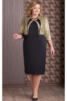 Купить Платье Aira Style 600н черный с золотом, Платья, 600н, черный с золотом, Плательная ткань (95% пэ, 5% спандекс), Мультисезон