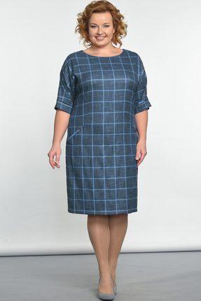 Купить Платье Lady Style Classic 926 сине-голубые тона, Платья, 926, сине-голубые тона, ПЭ 65%+Вискоза 32%+ПУ 3%, Мультисезон