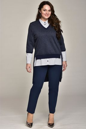 Купить Комплект брючный Lady Style Classic 1528 синий, Брючные, 1528, синий, Блуза: Хлопок 100% Туника: ПЭ 62%+Вискоза 38% Брюки: ПЭ 71%+Вискоза 23%+ПУ 6%, Мультисезон