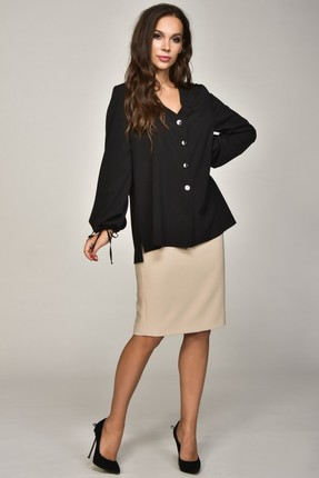Купить Блузка Teffi style 1355 черный, Блузки, 1355, черный, 95% ПЭ, 5% эластан, Мультисезон
