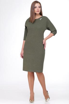 Купить Платье Мишель стиль 543 хаки, Платья, 543, хаки, полиэстер - 70%, вискоза - 20%, мет.нить - 10%, Мультисезон