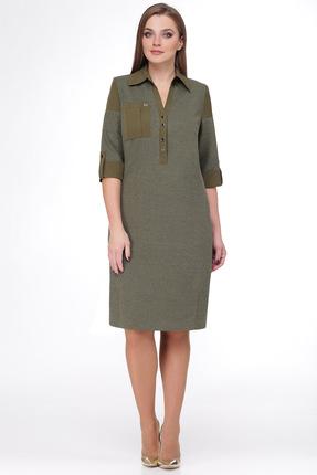 Купить Платье Мишель стиль 684 хаки, Платья, 684, хаки, полиэстер 70%, вискоза 20%, мет.нить 10%, Мультисезон