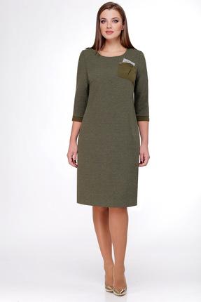 Купить Платье Мишель стиль 724 хаки, Платья, 724, хаки, полиэстер 70%, вискоза 20, мет.нить 10%, Мультисезон