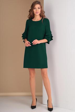 Купить Платье Ксения Стиль 1574 зеленый, Платья, 1574, зеленый, п/э 71%, вискоза 23%, спандекс 6% (костюмно-плательная ткань), Мультисезон