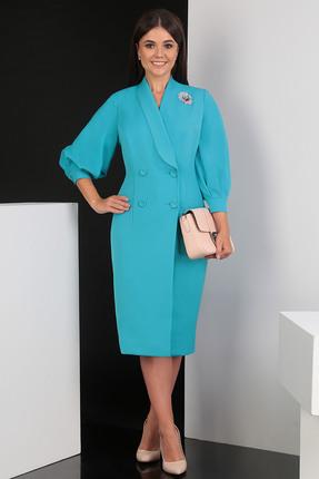 Купить Платье Мода-Юрс 2425 бирюзовый, Платья, 2425, бирюзовый, ПЭ 100% (плательная), рукава - гипюр, Мультисезон