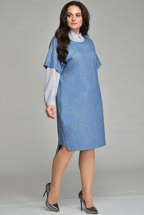 Купить Комплект плательный Lady Style Classic 1531 голубой, Плательные, 1531, голубой, Платье: ПЭ 58%+Вискоза 39%+ПУ 3% Блуза: Хлопок 100%, Мультисезон