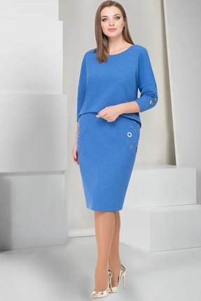 Купить Платье ТАиЕР 733 василёк , Платья, 733, василёк , Вискоза 60%, Полиэстер 34%, Спандекс 5%, Люрекс 1%, Мультисезон