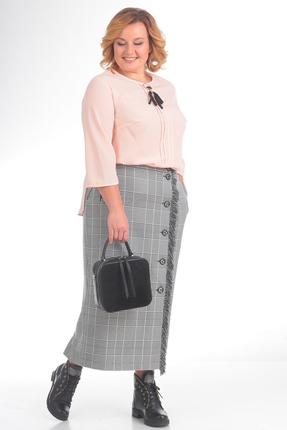 Купить Комплект юбочный Pretty 762 серый с розовым, Юбочные, 762, серый с розовым, блуза 100% полиэстр, юбка 80%полиэстр 20%вискоза, Мультисезон