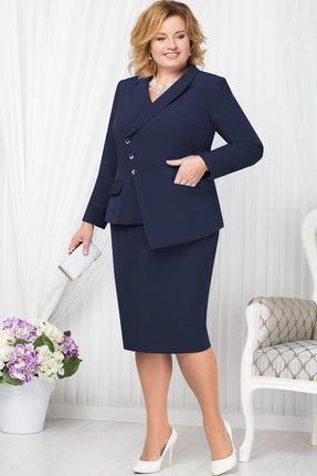 Купить Комплект юбочный Ninele 5662 синий, Юбочные, 5662, синий, Жакет - полиэстер 95%, спандекс 5%, подкладка ПЭ -100%, юбка - полиэстер 95%, подкладка - подкладка ПЭ -100%, Мультисезон