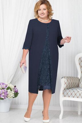 Купить Платье Ninele 7208 синий, Вечерние платья, 7208, синий, Полиэстер 70%, вискоза 25%, лайкра 5%, кружево - ПЭ-100%, подкладка – полиэфир 95%, спандекс 5%, Мультисезон