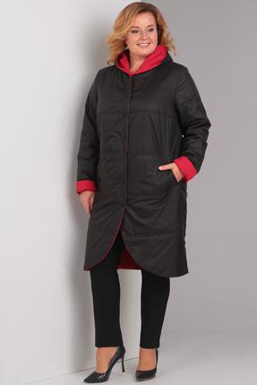 Фото 2 - Пальто Диамант 1328 черный с красным цвет черный с красным