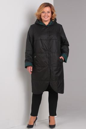 Пальто Диамант 1328 Черный с зеленым